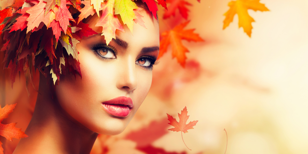fall fashion trends 2019 - beautiful woman with leaves - autumn fashion portrait