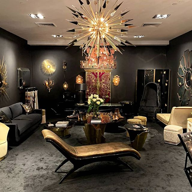 luxury furniture by koket at high point market fall 2019 - black and gold living rooms