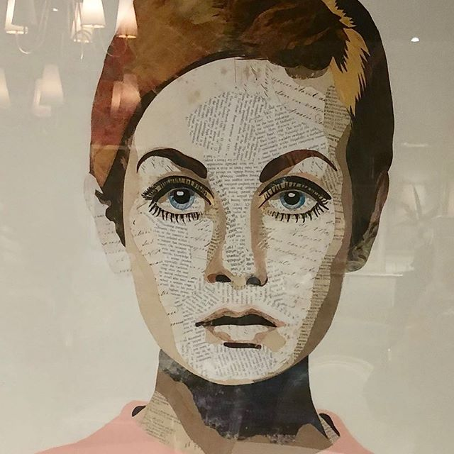 Twiggy collage from Blue Print Gallery hanging at Highland House at high point market fall 2019