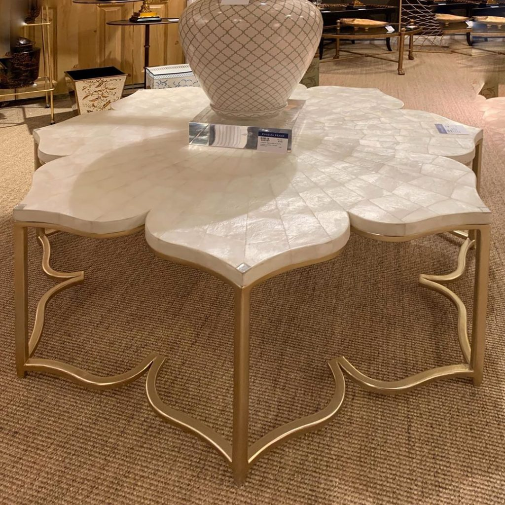 Mother of pearl floral motif cocktail table Chelsea House - nature inspired 2020 interior design trends to watch