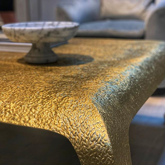 Hammered bronze table by Baker Furniture