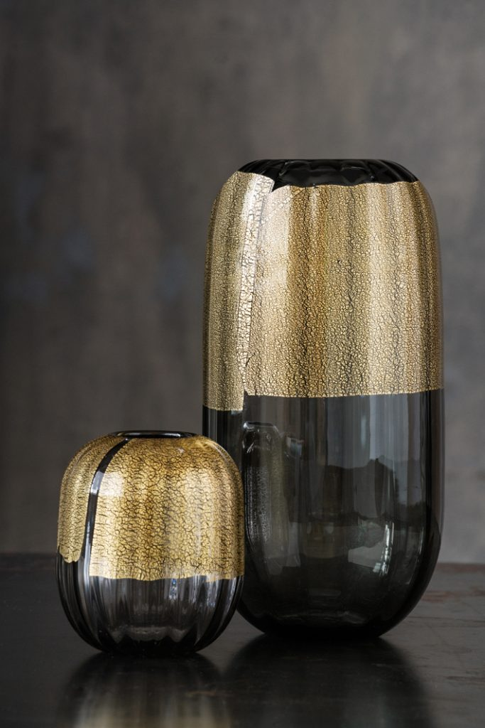 smoky quartz vase with gold leaf lanterna vases by cartwright ny