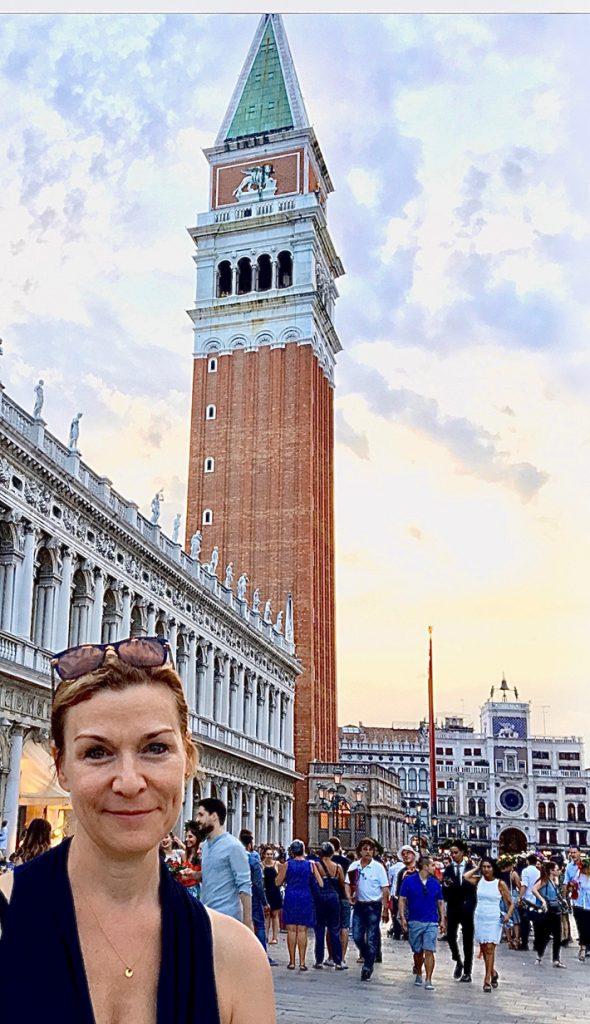 Carolyn Cartwright in Piazza San Marco, Venice