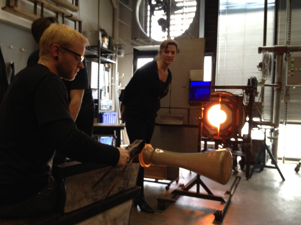 Carolyn overseeing the production of a  Canna lamp