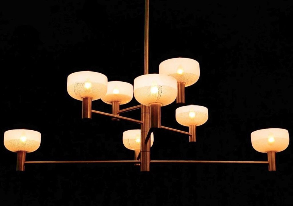 Otto Luce Piccolo chandelier in Brushed Brass with handblown glass shades