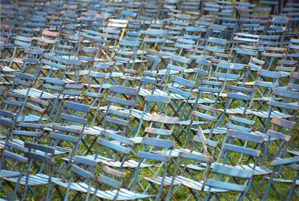 Photo of distressed blue chairs by Steve Freihon when he was 15 or 16 years old, taken in France.