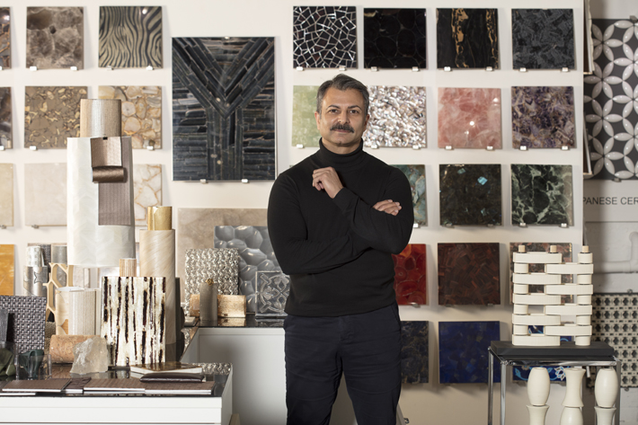fameed khalique in his london showroom filled with innovative materials