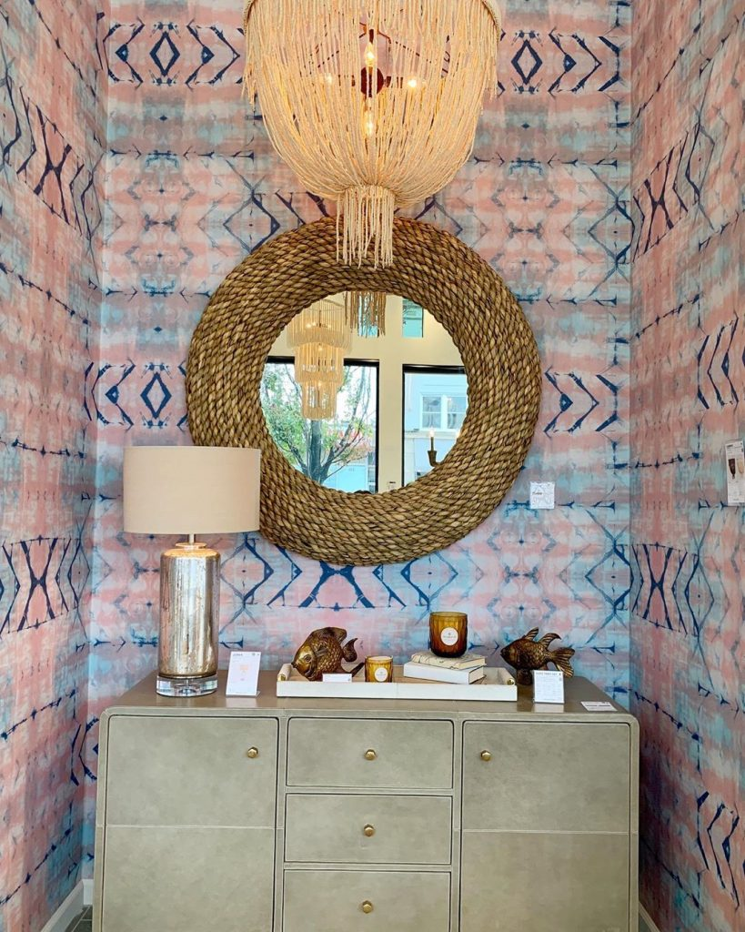rope mirror and natural fiber chandelier by made goods at high point market fall 2019