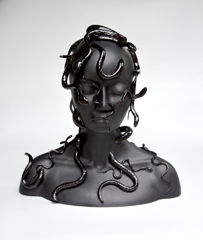Medusa by Juliette Clovis, Limoges Porcelain, 2018 - dark decor