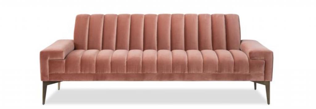 rawan isaac pink ribbed sofa