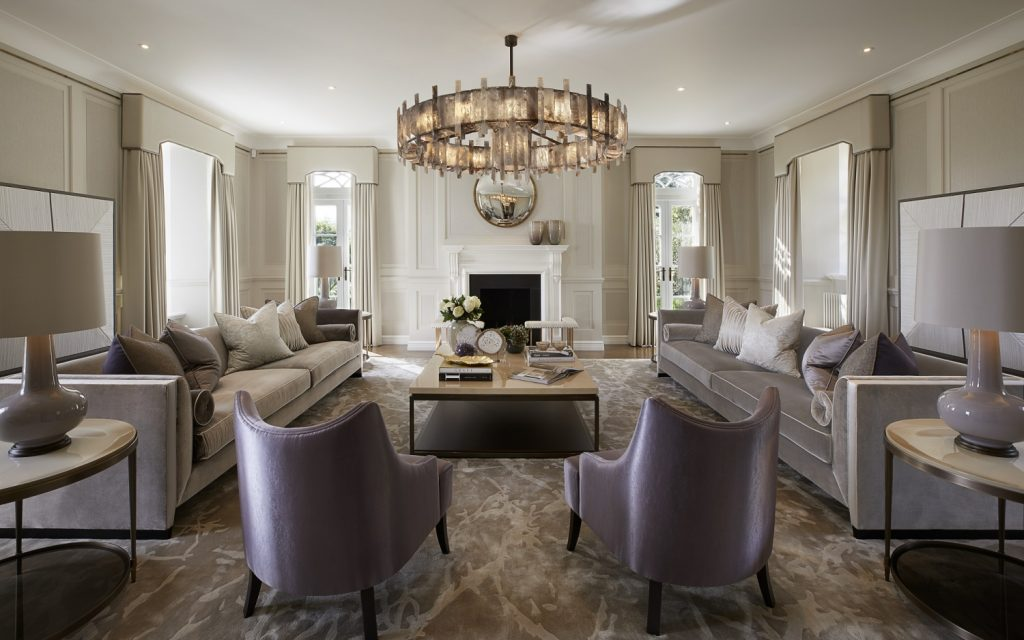 luxury living room design with purple, violet and cream color palette