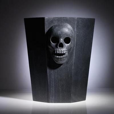 "Black Marble Skull Champagne Bucket, part of the ""Remains"" Collection by Thomas Fuchs Creative"