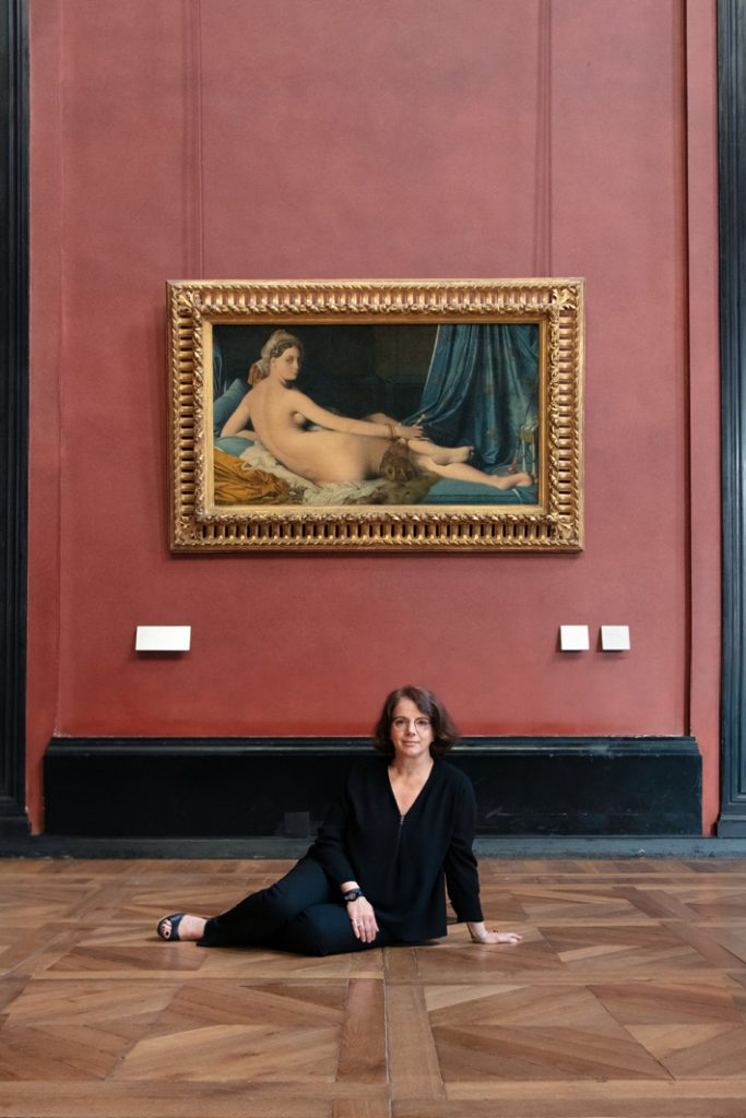 Domitille Michalon-Bertier in front of the painting that inspired her luxury fragrance, Jean Auguste Dominique Ingres' Grande Odalisque