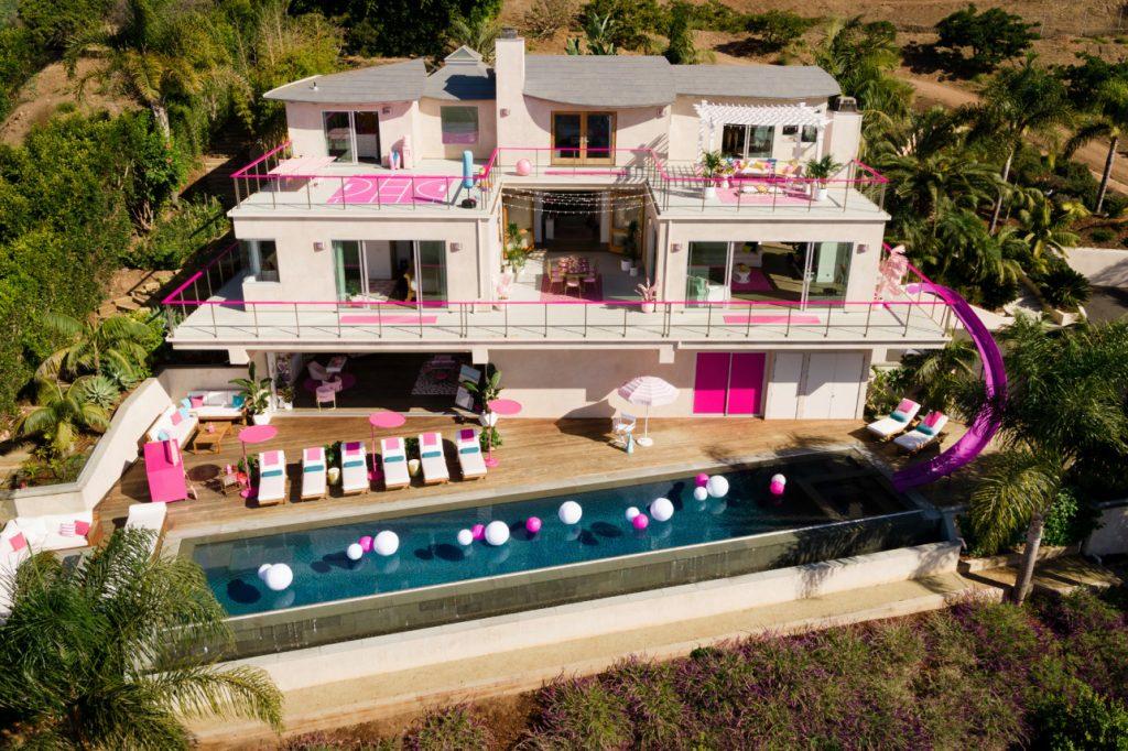 exterior of barbie malibu dreamhouse airbnb