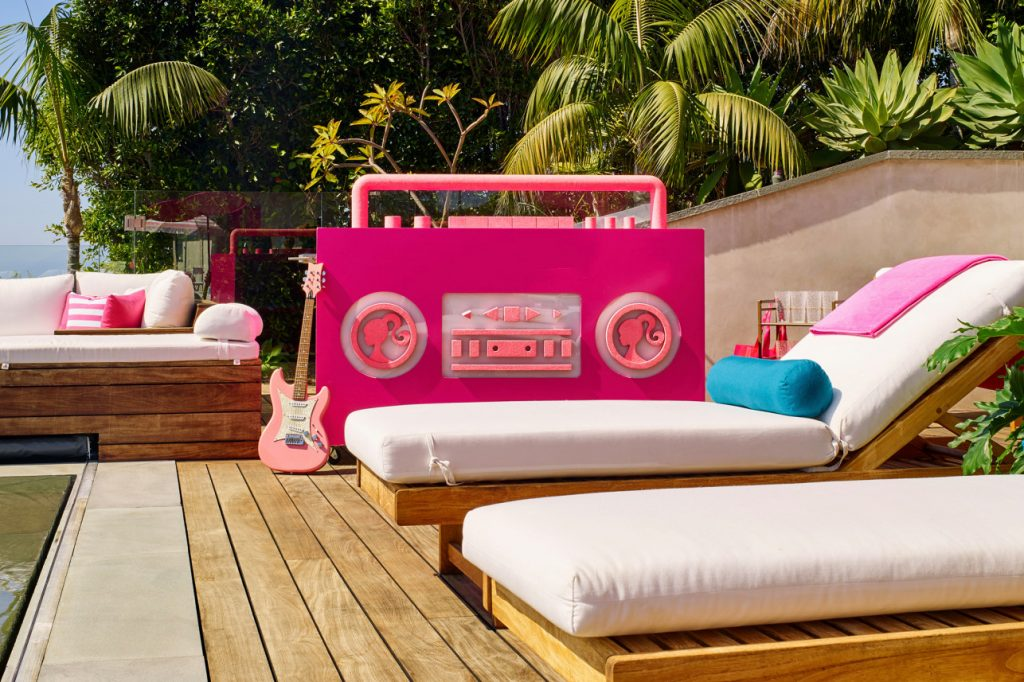 poolside at the barbie malibu dreamhouse airbnb