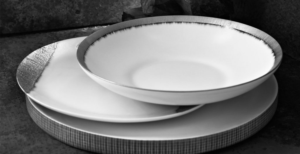 Fine handmade porcelain with real platinum details by Daniel Levy