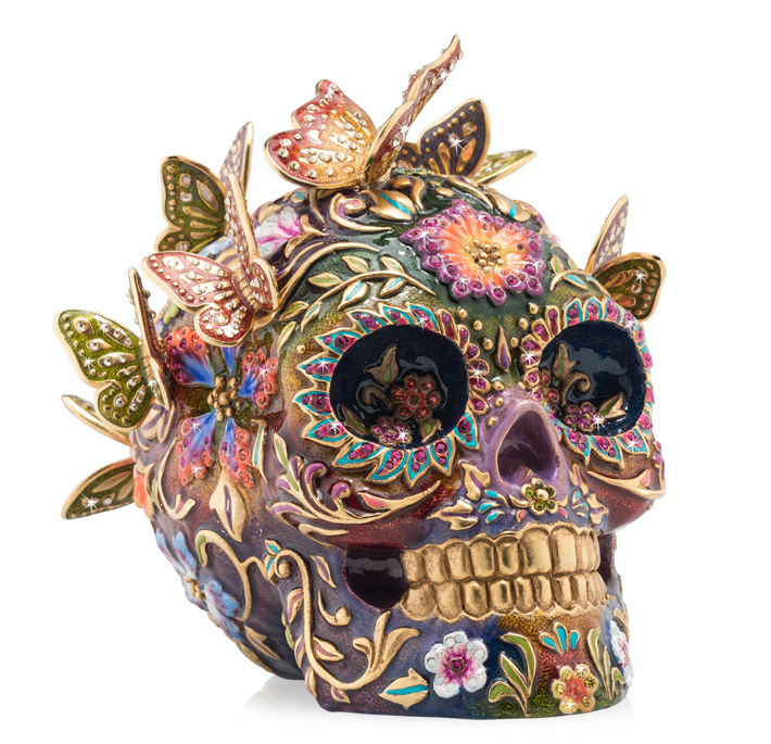 Handcrafted skull figurine plated in 14-karat gold with butterflies, hand enameling and Swarovski® crystal embellishments by Jay Strongwater