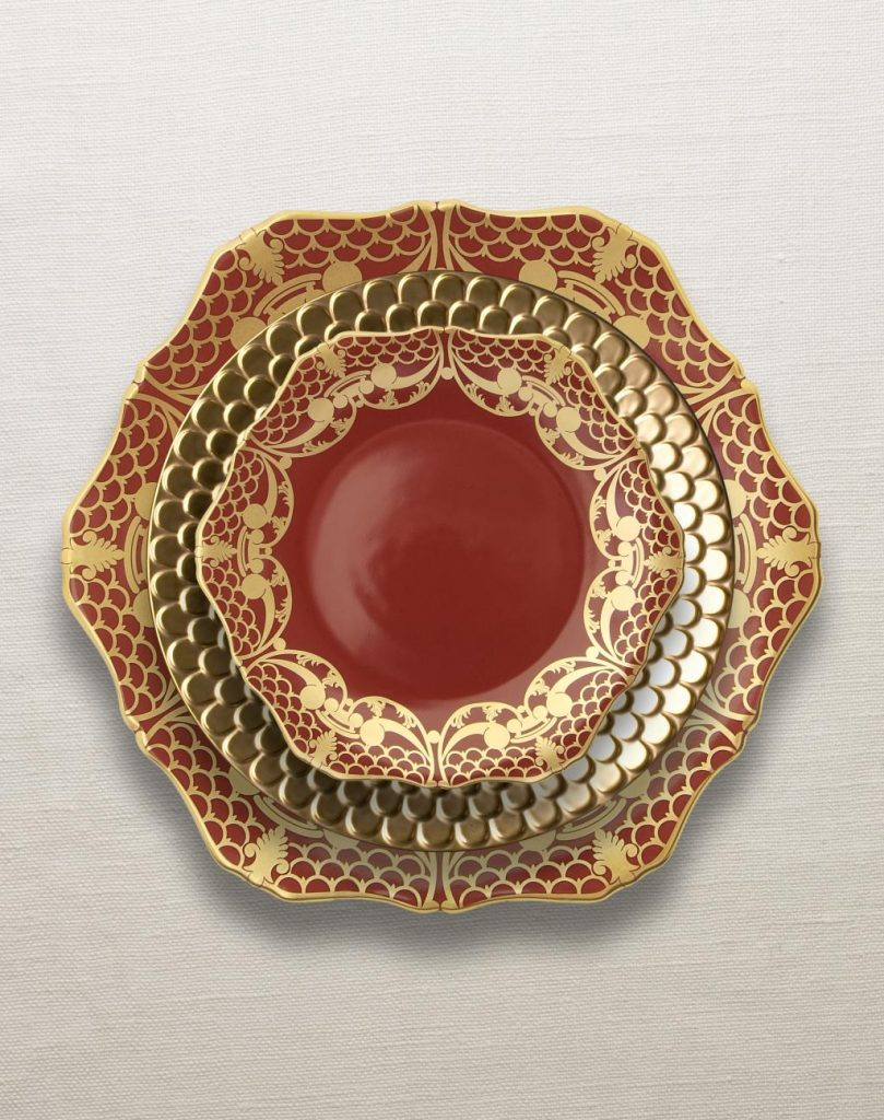 Alencon Red holiday Dinnerware Collection by L'Objet