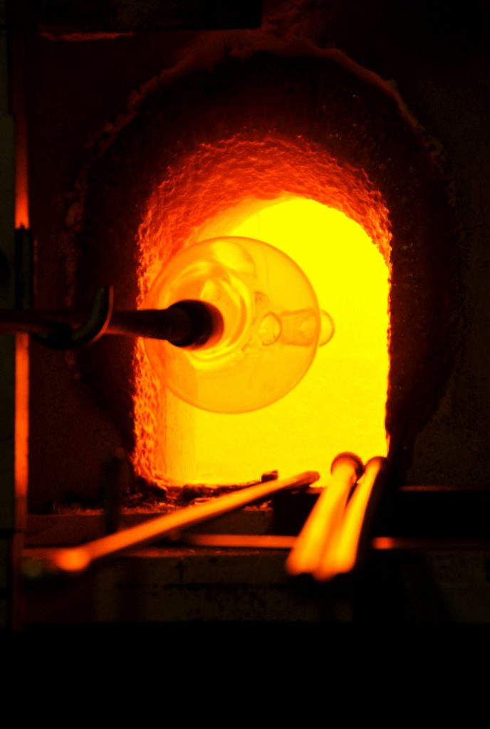 glass blowing furnace in a Venetian glass blowing studio in murano