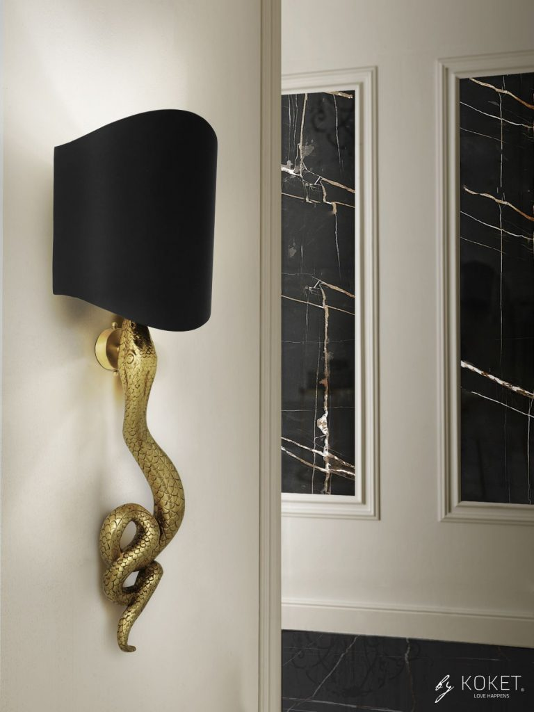 serpentine sconce by koket - dark decor ideas