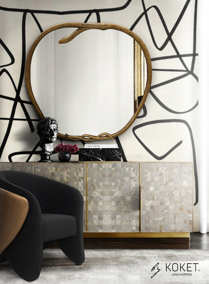 koket serpentine mirror and denise chair - high point market fall 2019