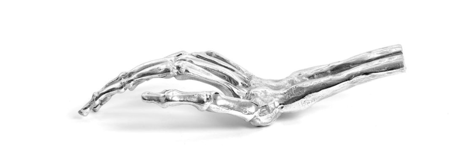 silver metal Skeleton Hand by Diesel Living with Seletti - dark decor ideas