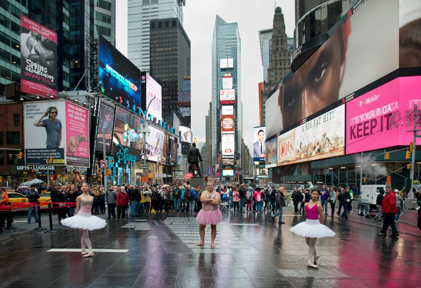 Bob Carey in Times Square #dare2tutu