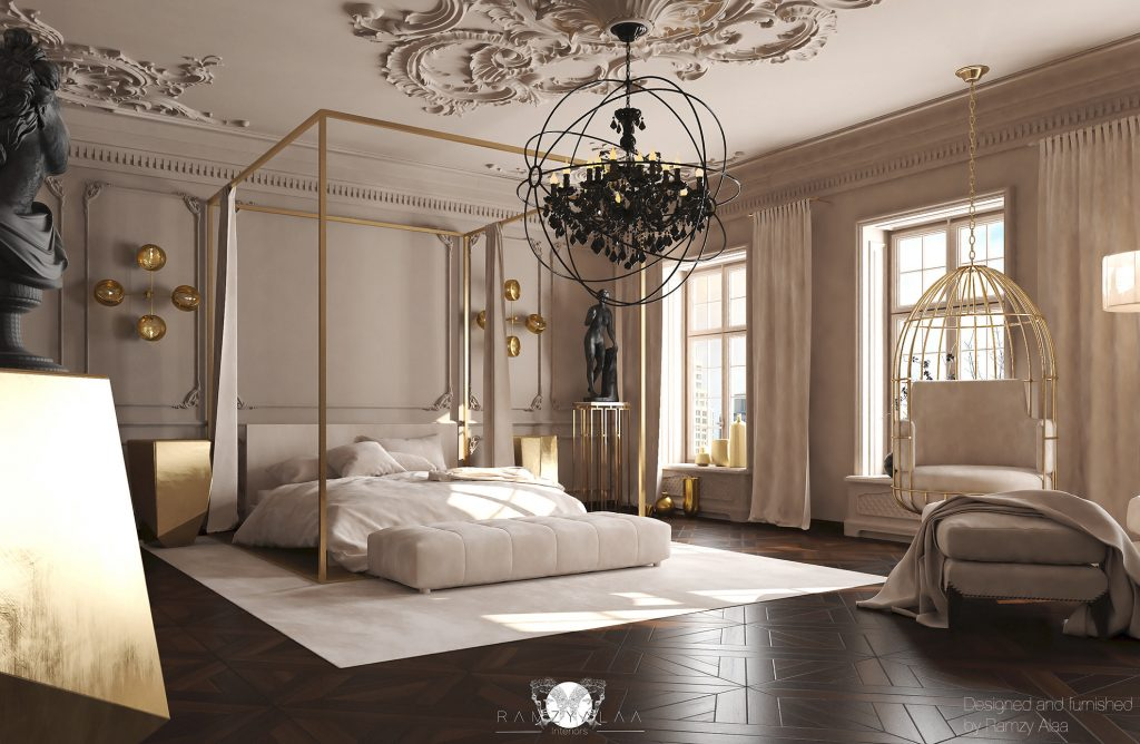 boutique hotel style bedroom monochrome by ramzy alaa