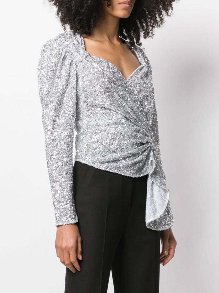 Attico silver Sequinned Top on Farfetch Winter Outfit Ideas for your Holiday Parties