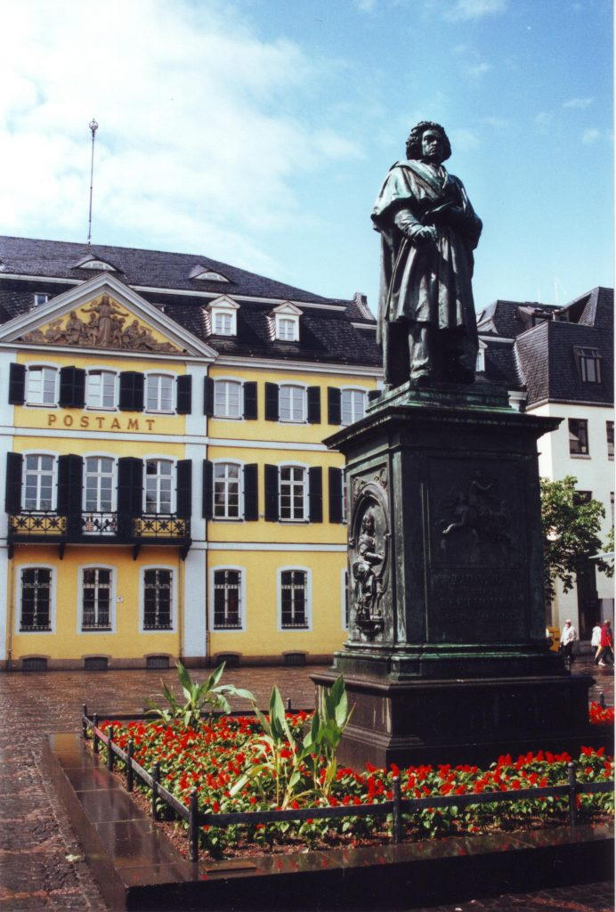 Bonn Cathedral Square with Beethoven monument in Bonn, Germany