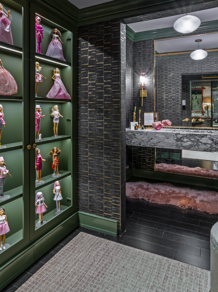 """""""Think Pink"""" Powder Room by MHM Interiors at holiday house nyc 2019"""