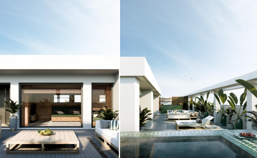 Terrace design concept for a penthouse in Quinta dos Alcoutins, Lisbon