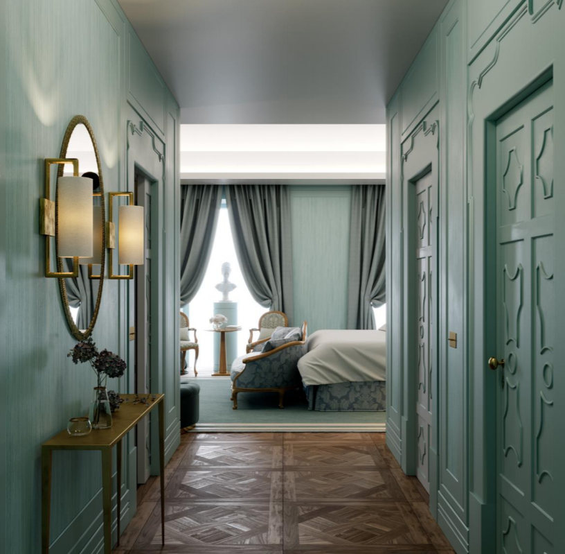 Blue Palace master bedroom design for a luxury five-star hotel in Praca da Algeria by inez fino