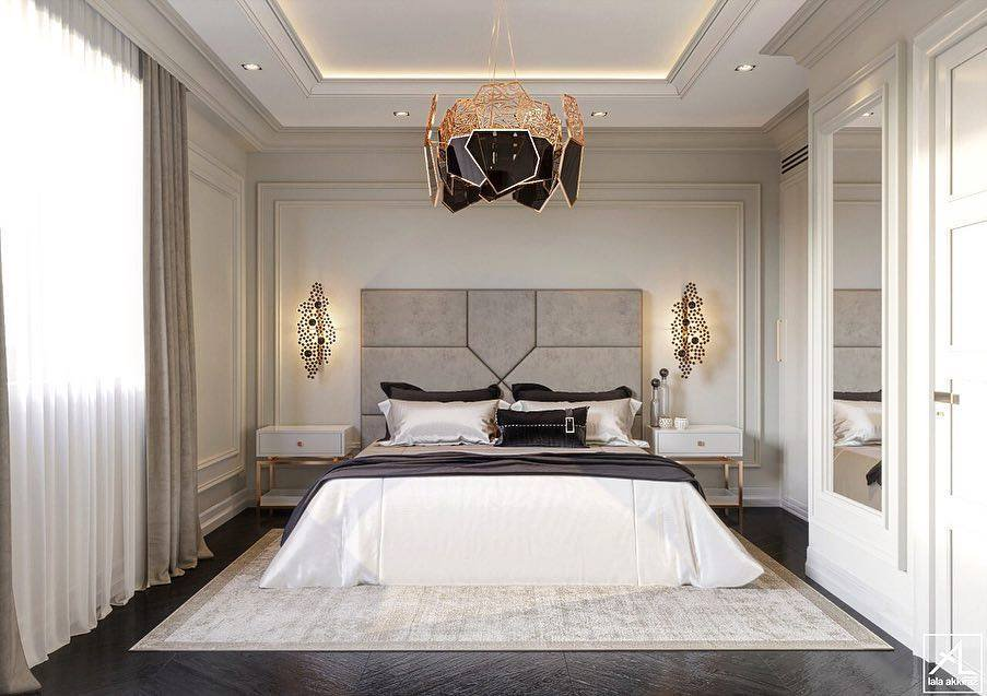 Bedroom design by Lala Akkiraz Interiors featuring the Hypnotic Chandelier and Eternity Sconces by KOKET