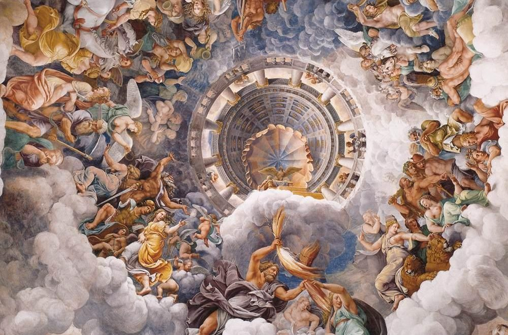 Giulio_Romano_-_Vault_-_The_Assembly_of_Gods_around_Jupiter's_Throne - beautiful ceiling designs