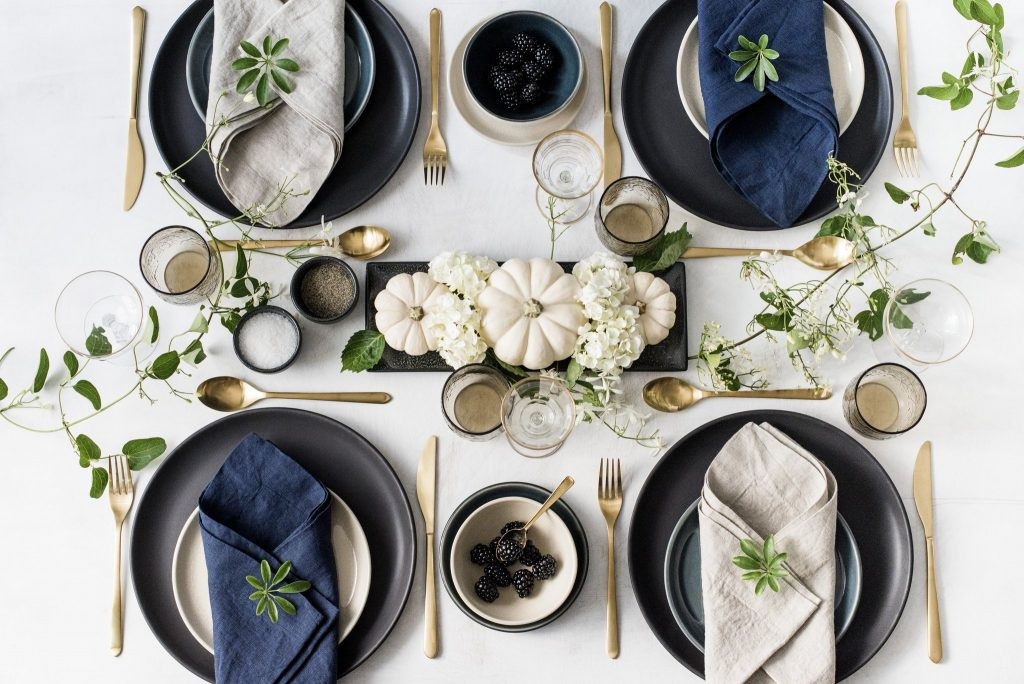 luxury stoneware in a fall tablesetting by carthage co - seasonal decor ideas