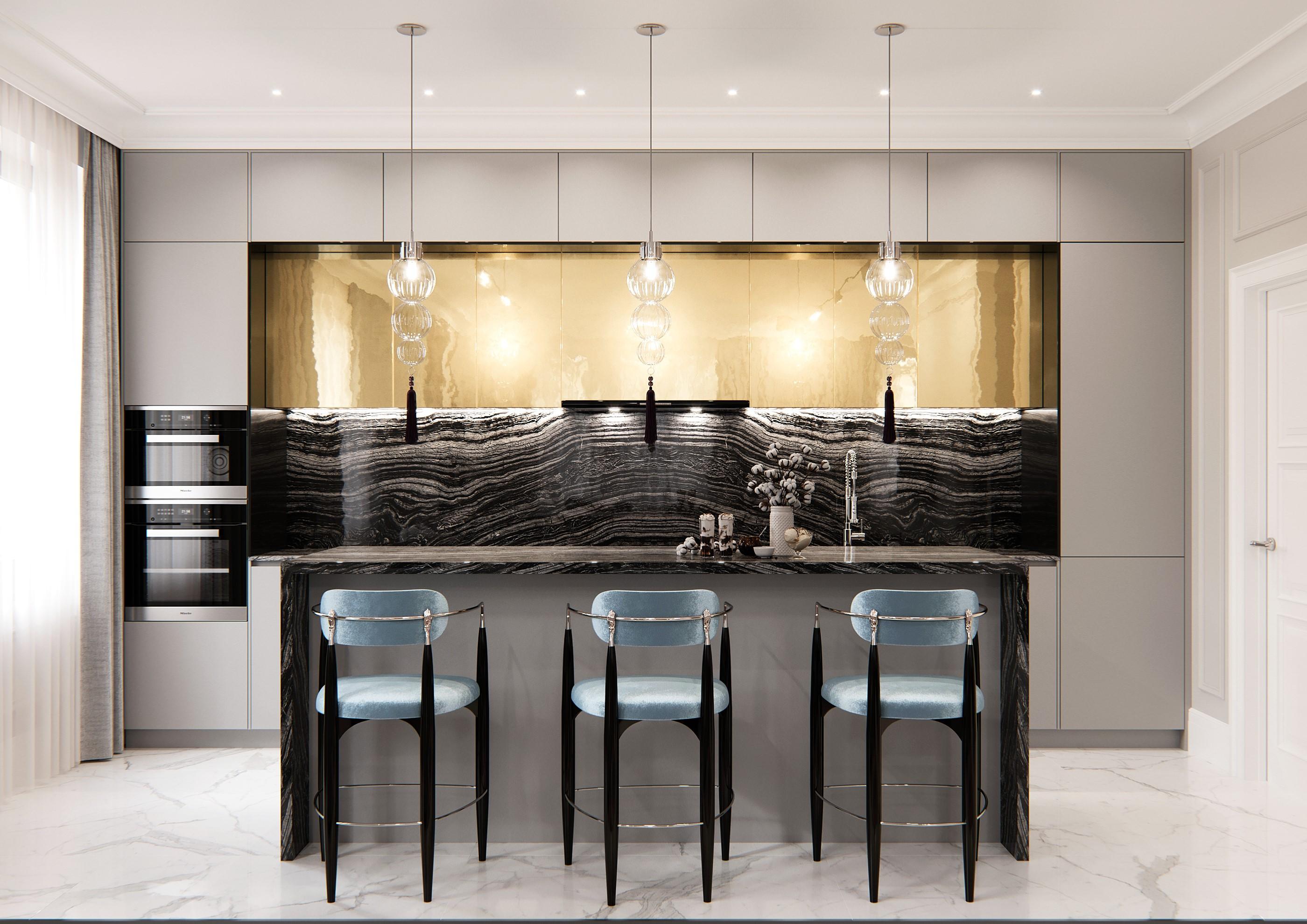 balcon studio dream kitchen with nahema bar stool by koket