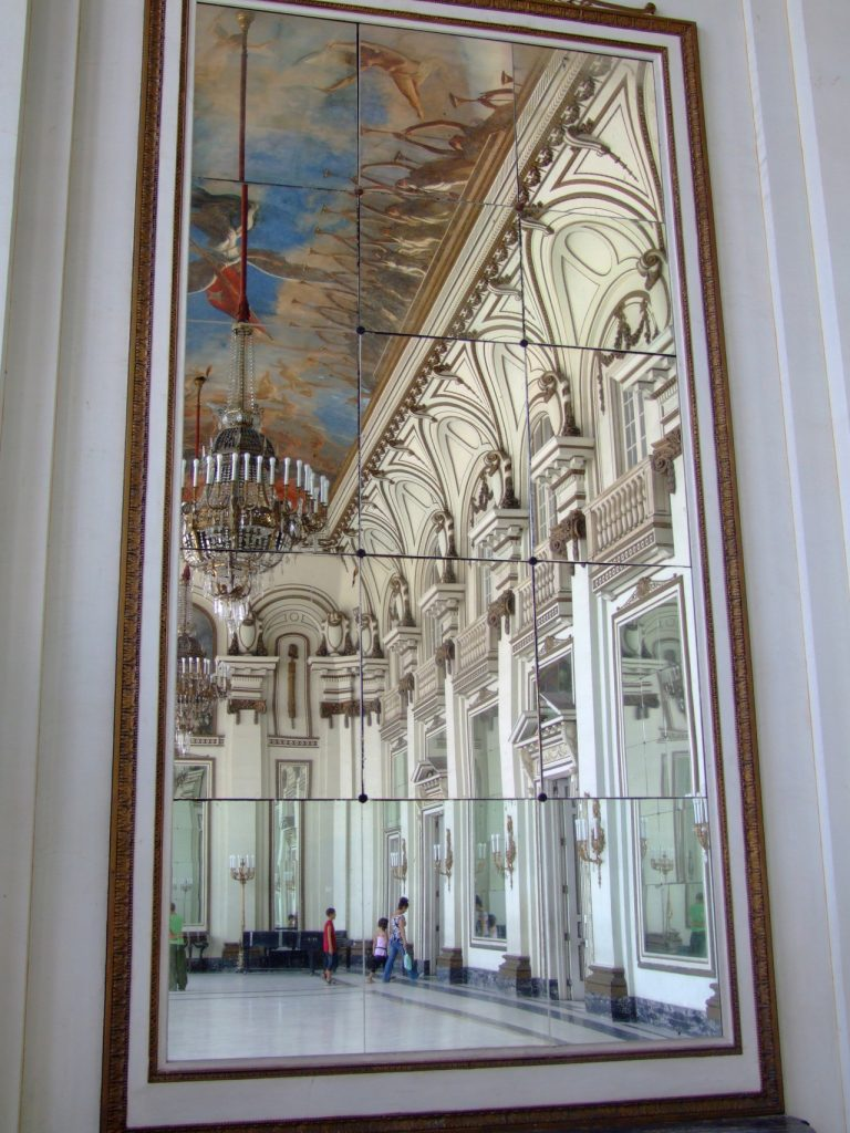 Beautiful Ceiling design in Havana, Cuba. Museo de la Revolucion, Hall of Mirrors.