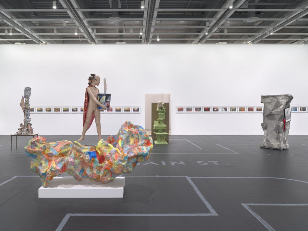 Installation view of Rachel Harrison Life Hack (Whitney Museum of American Art, New York, October 25, 2019–January 12, 2020). From left to right: Brownie, 2005; Sunset Series, 2000; Alexander the Great, 2007; Cindy, 2004; Valid Like Salad, 2012. Photograph by Ron Amstutz