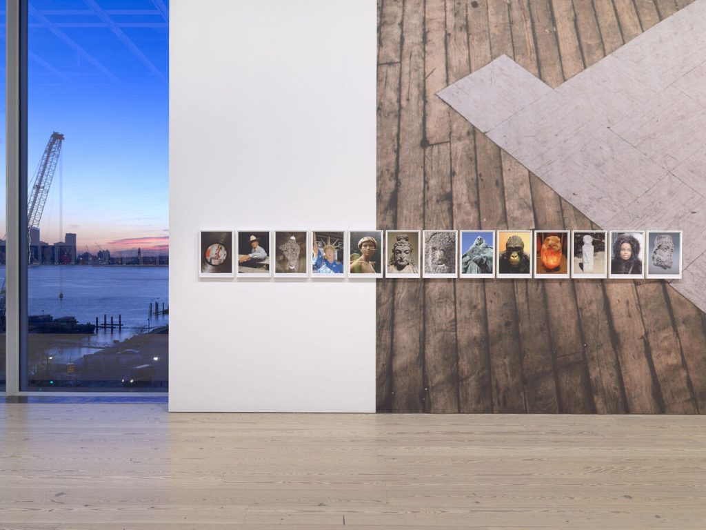 Installation view of Rachel Harrison Life Hack (Whitney Museum of American Art, New York, October 25, 2019–January 12, 2020). From left to right: Voyage of the Beagle, 2007; One Box of Floor Tiles, Crosby St., 1994. Photograph by Ron Amstutz