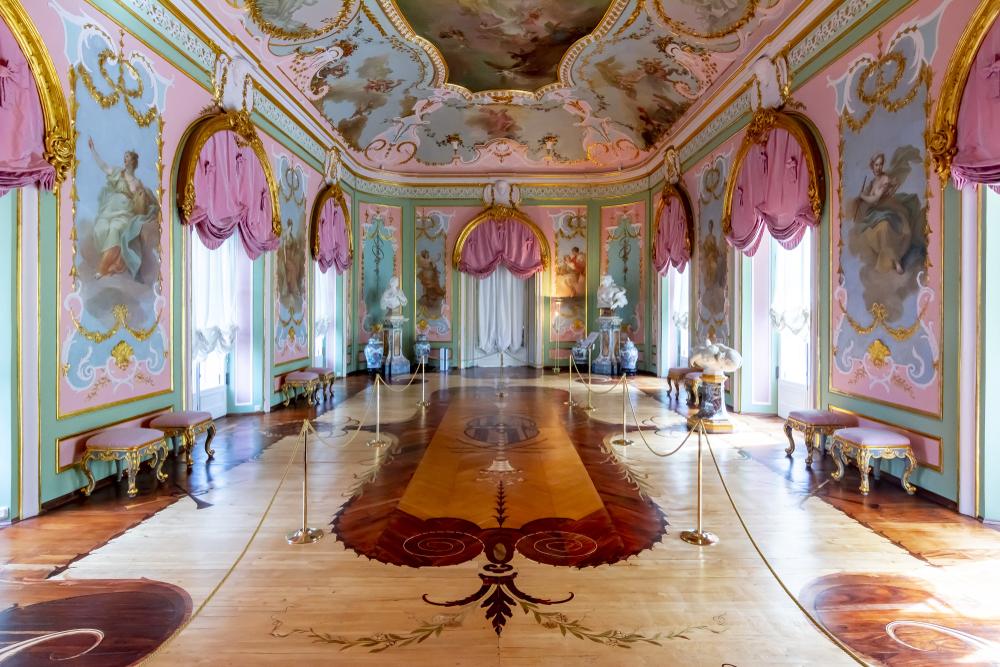 Beautiful ceiling design in St. Petersburg, Russia.