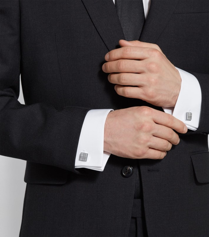 Burberry Silver-Plated Check Cufflinks