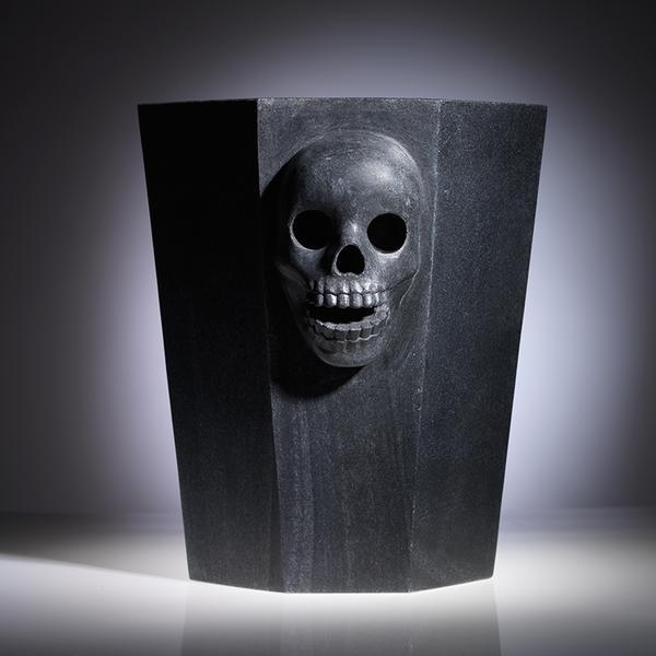 Black Marble Skulls Champagne Bucket from the Remains Collection by TFC