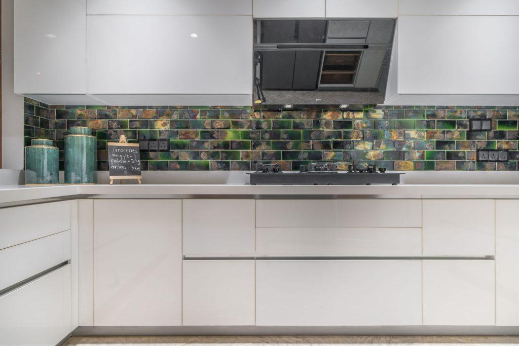 unique kitchen design with dado wall