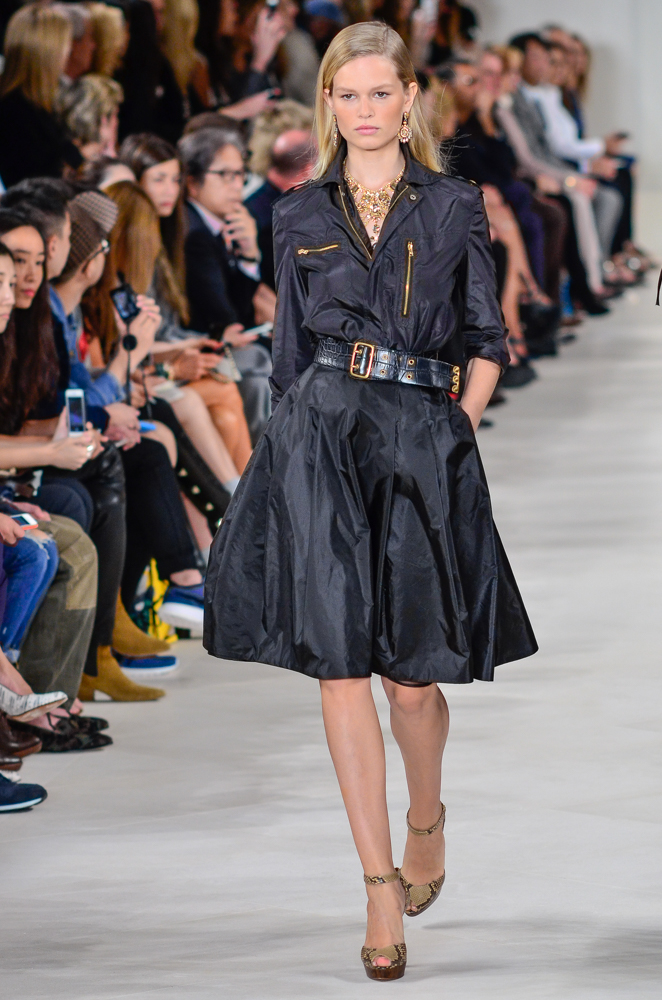 Model Anna Ewers walking the Ralph Lauren Spring/Summer fashion show in September