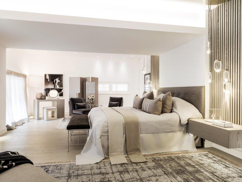 London home master bedroom designed by Kelly Hoppen