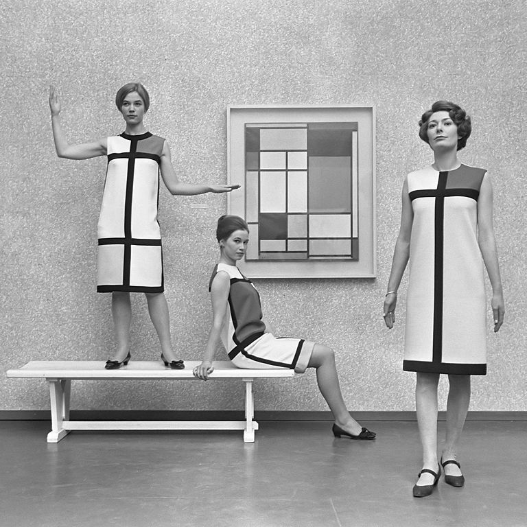 Mondrian Dresses made by Yves Saint Laurent at The Hague Municipal Museum exhibit 'Mondrian fashion from Paris'