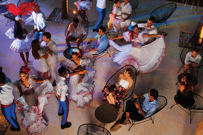 traditional dominican merengue band and dancing at excellence el carmen