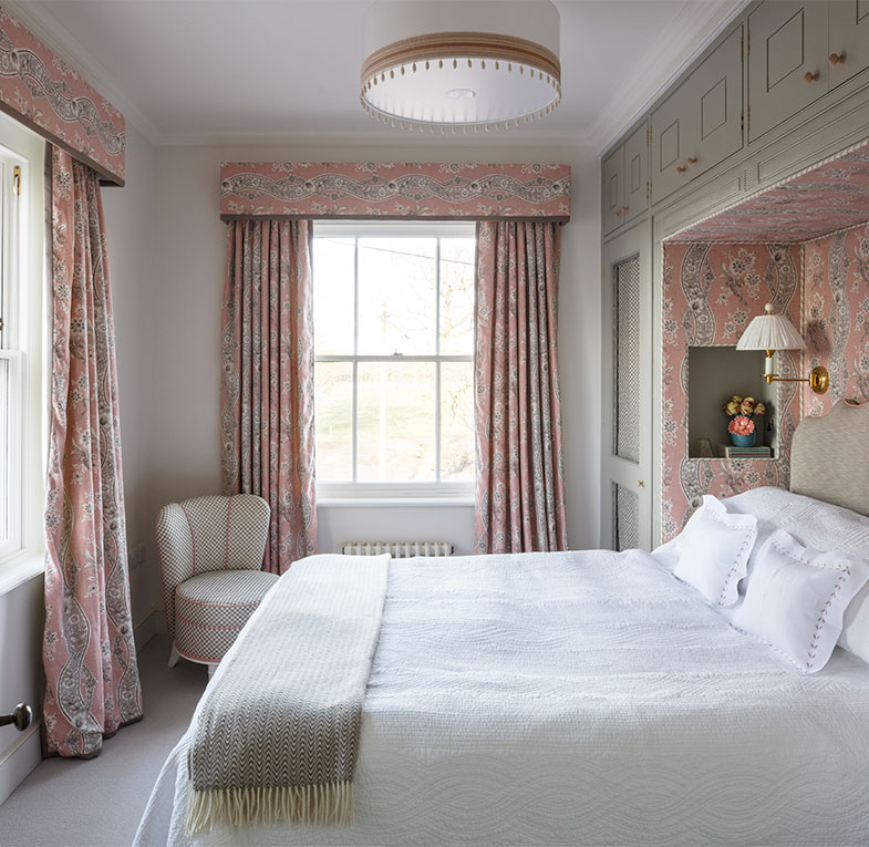 Bedroom in a Wiltshire country house designed by Nina Campbell