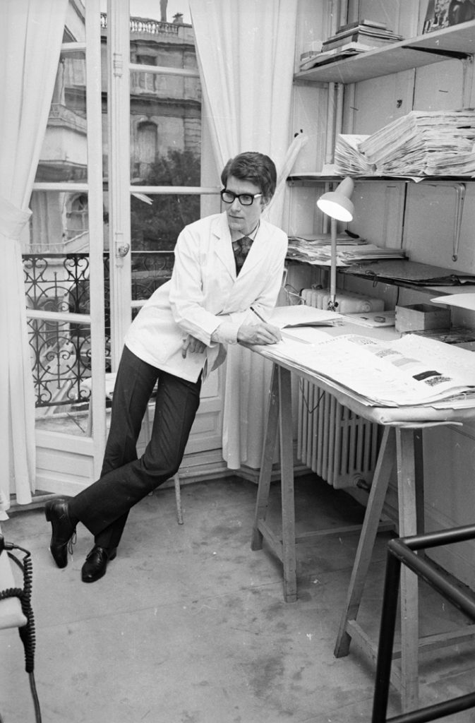 Yves Saint-Laurent, ex-wonder boy of Dior, working at his own fashion house in Paris, 1965